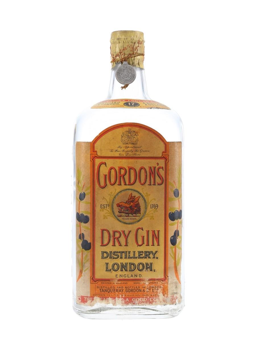 Gordon's Dry Gin Spring Cap Bottled 1950s 75.7cl