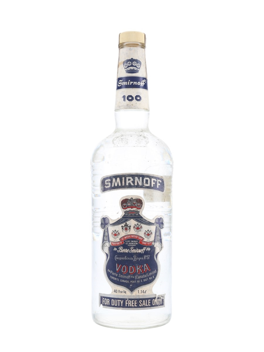 Smirnoff 100 Blue Label Bottled 1970s - Canada 114cl / 50%