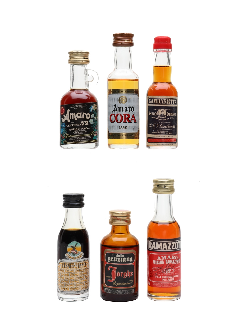 Assorted Amaro Centerba, Cora, Fernet Branca, Gambarotta, Ramazzotti, Genziana 6 x 2cl-3cl