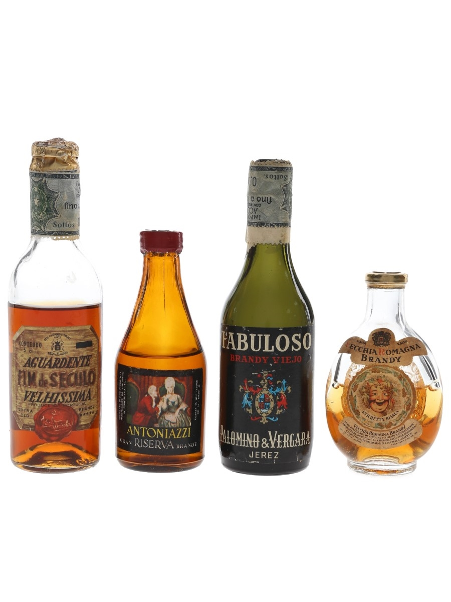 Assorted Brandy Bottled 1960s-1970s 4 x 3cl-5cl