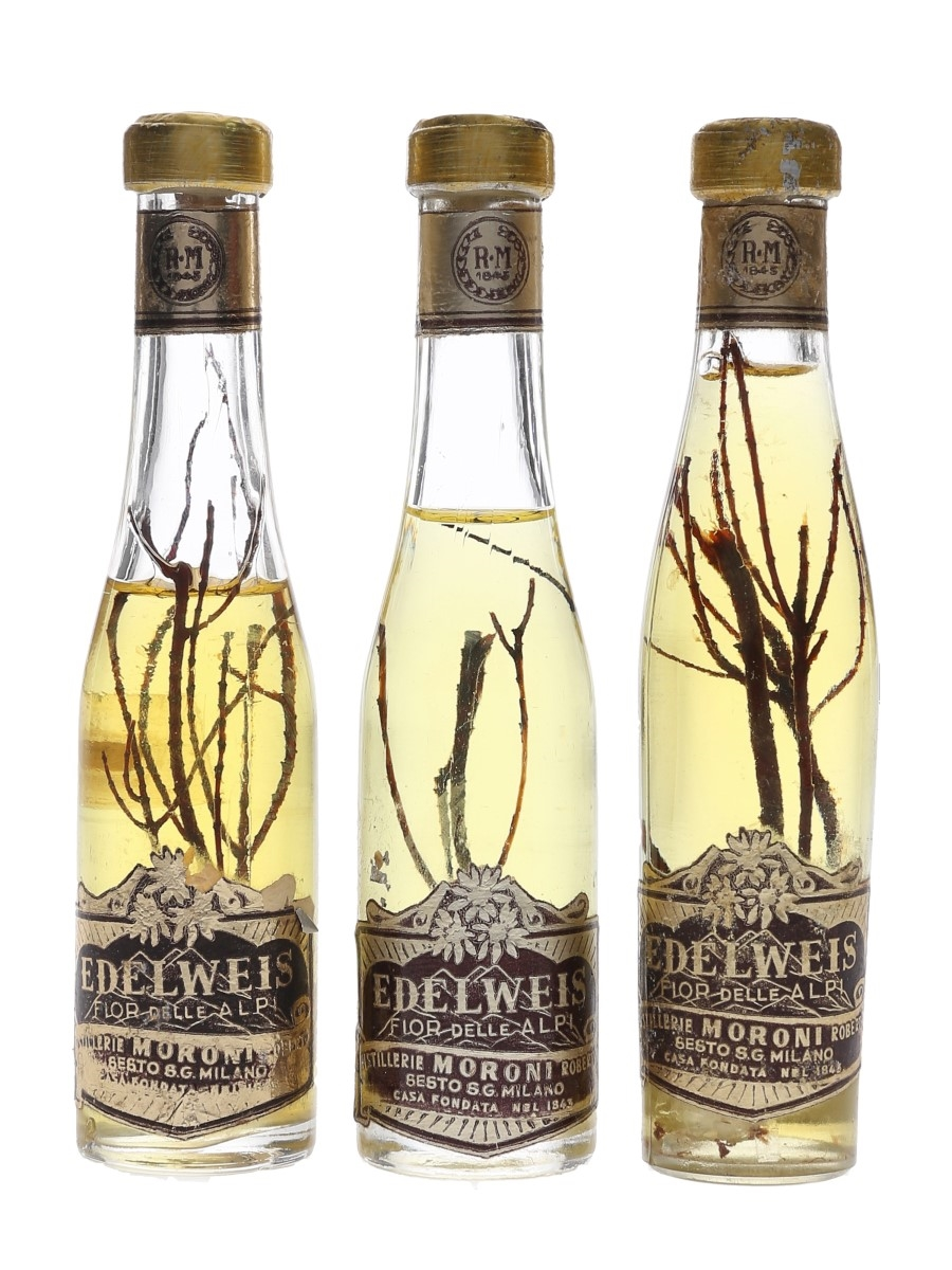 Roberto Moroni Edelweis Liqueur Bottled 1960s 3 x 3cl / 35%