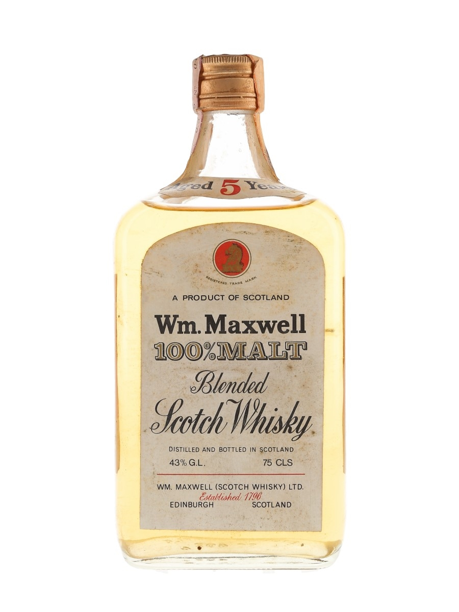 Wm Maxwell 100% Malt 5 Year Old Bottled 1960s-1970s - Interpacific Italiana 75cl / 43%