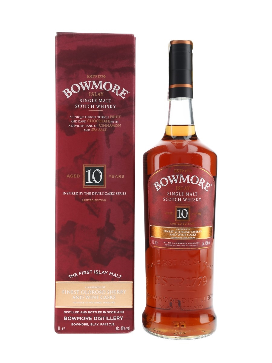 Bowmore 10 Year Old Oloroso Sherry & Wine Casks - Global Travel Retail 100cl / 46%