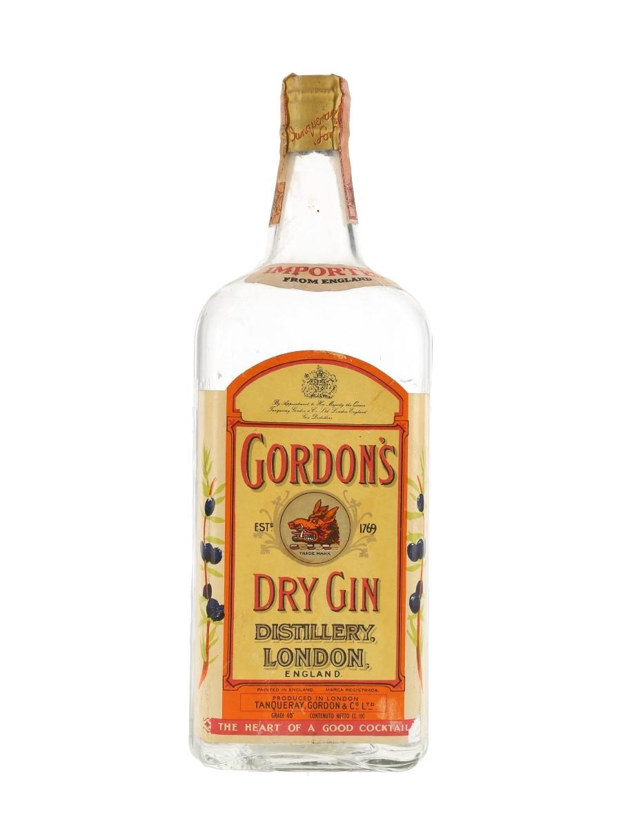 Gordon's Dry Gin Spring Cap Bottled 1950s-1960s - Wax & Vitale 100cl / 40%