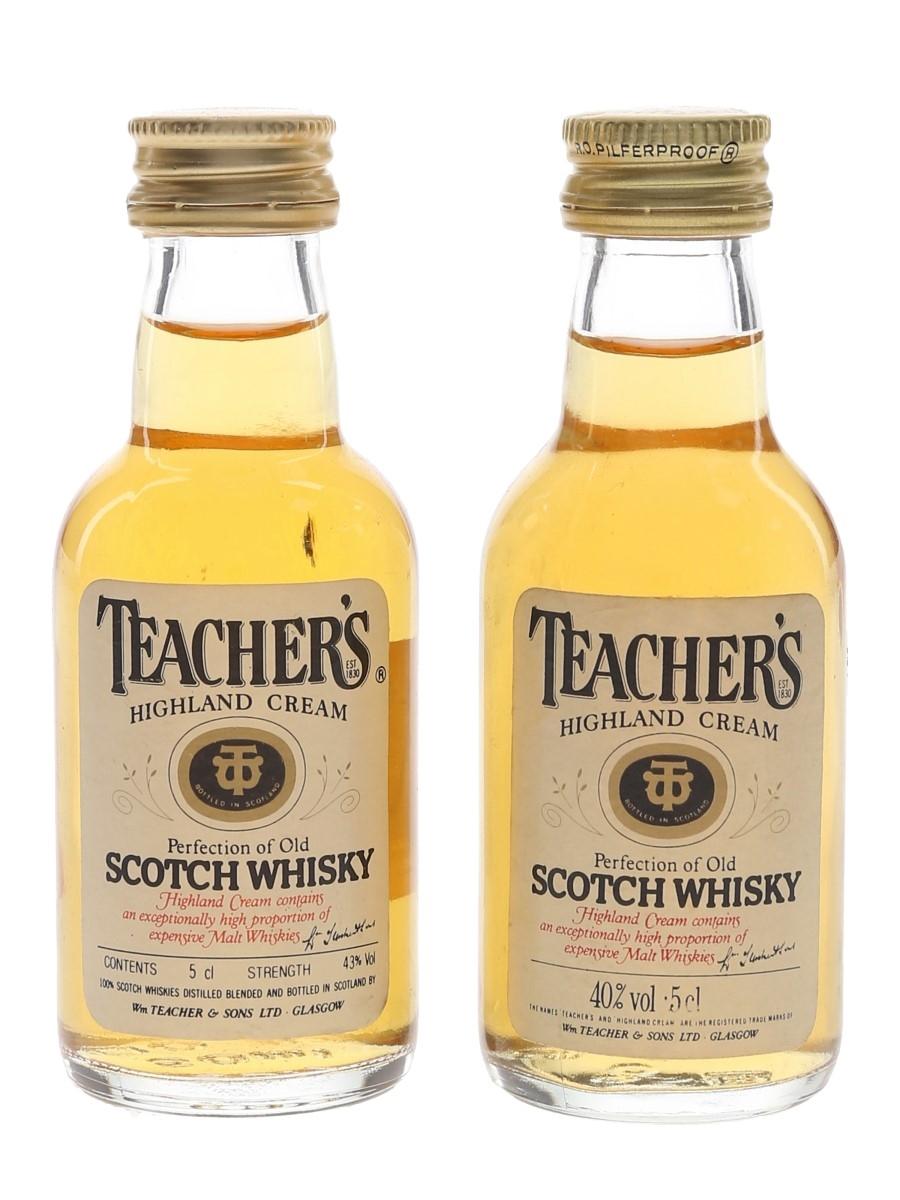 Teacher's Highland Cream Bottled 1980s 2 x 5cl