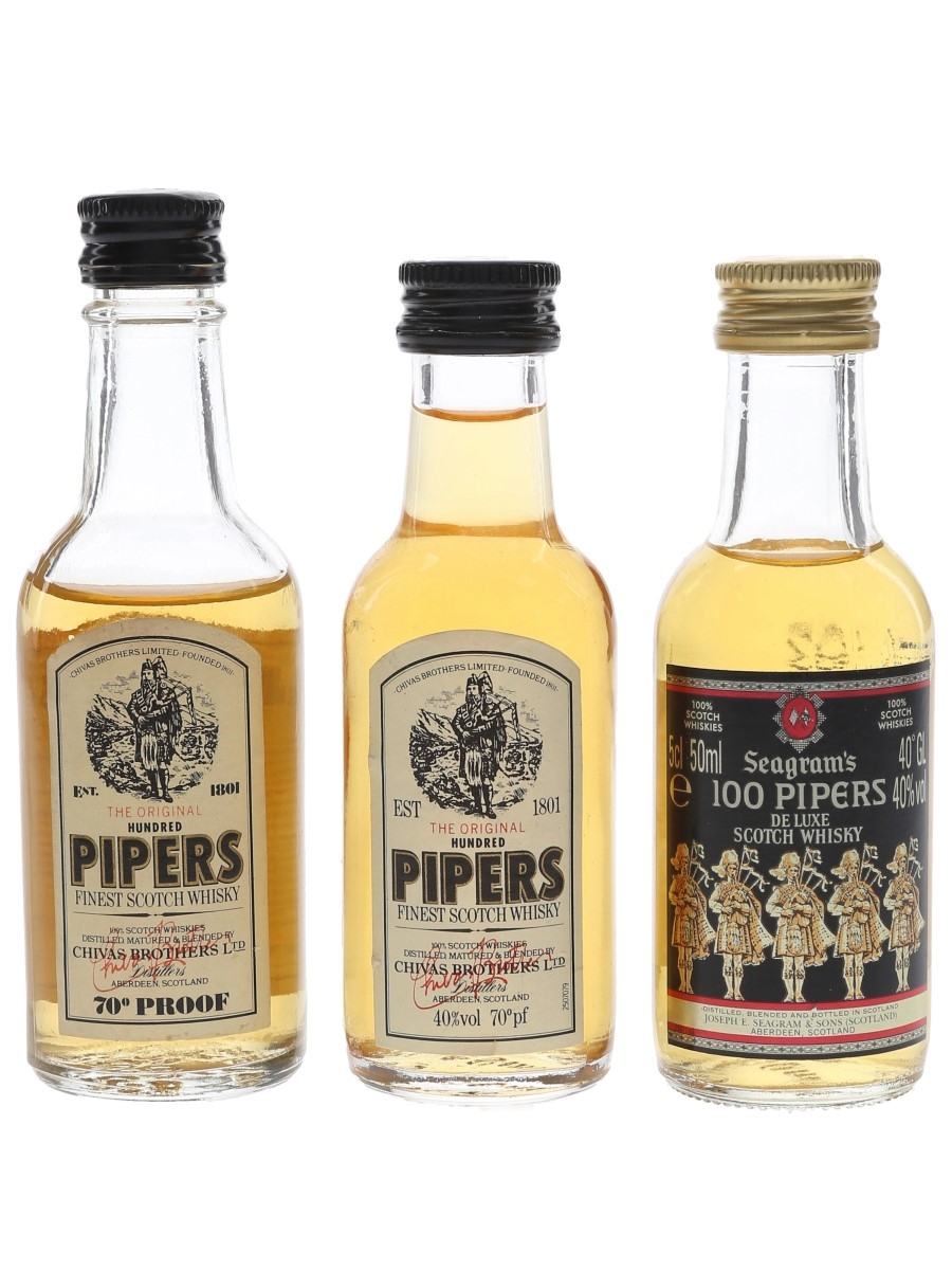 Chivas Brothers & Seagram's Hundred Pipers Bottled 1970s & 1980s 3 x 5cl / 40%
