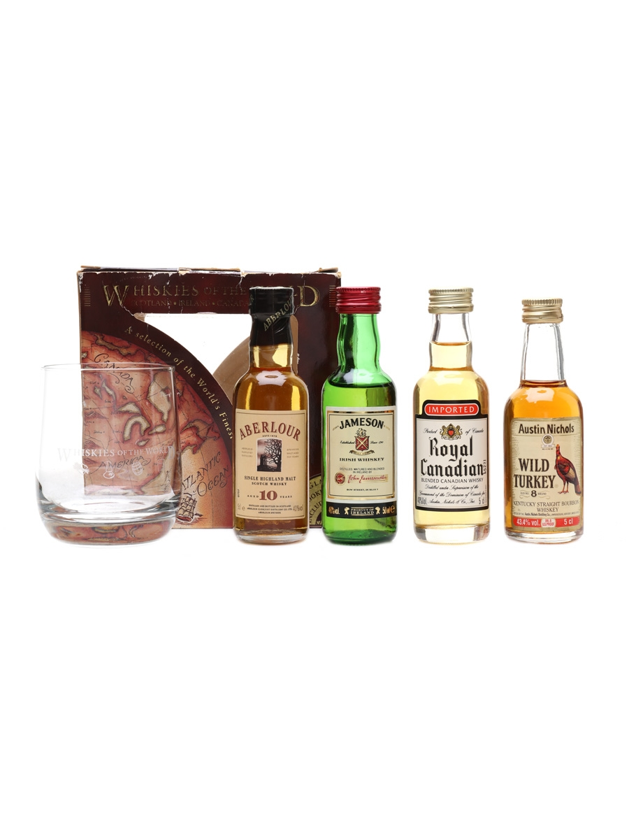 Whiskies Of The World Set Aberlour, Jameson, Royal Canadian & Wild Turkey 4 x 5cl