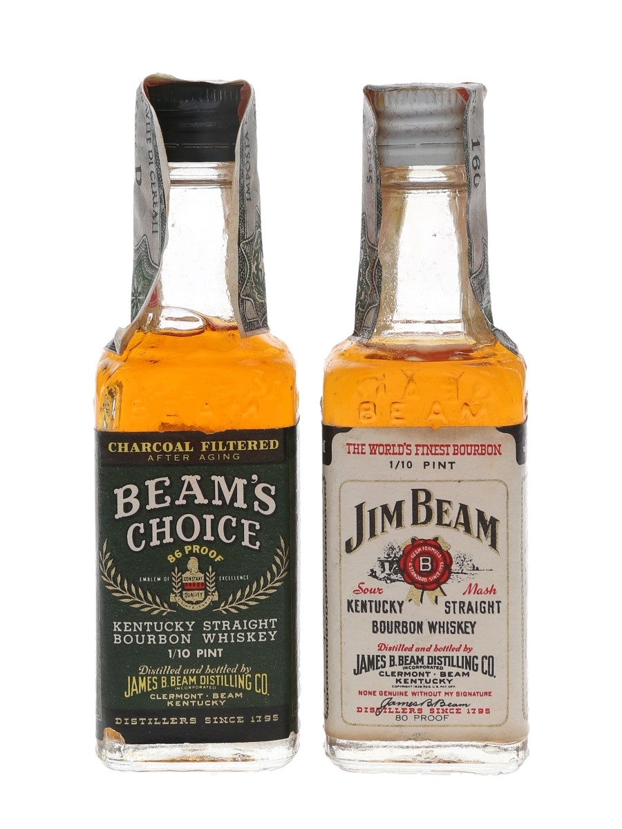Jim Beam 4 Year Old & Beam's Choice 8 Year Old Bottled 1960s-1970s - Spirit 2 x 4.7cl