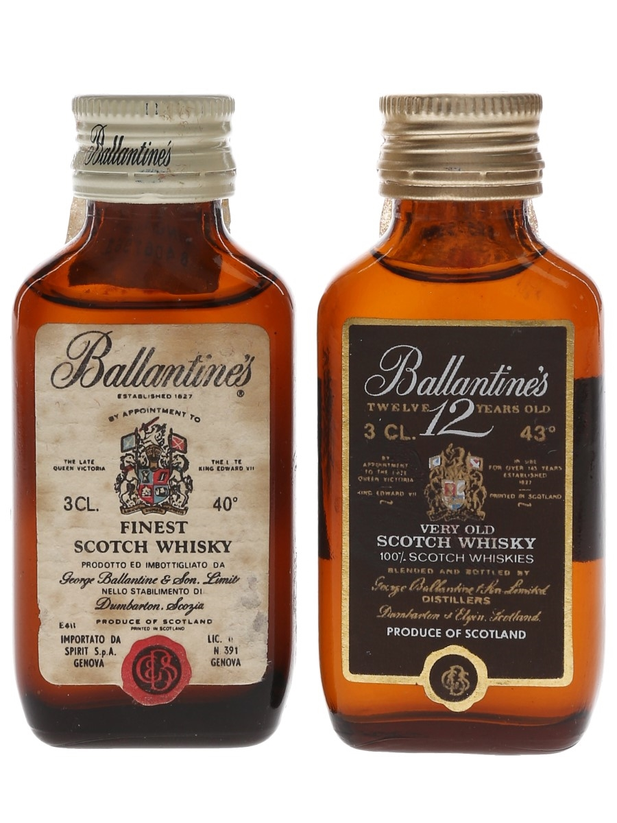 Ballantine's Finest & 12 Year Old Bottled 1970s - Spirit 2 x 3cl