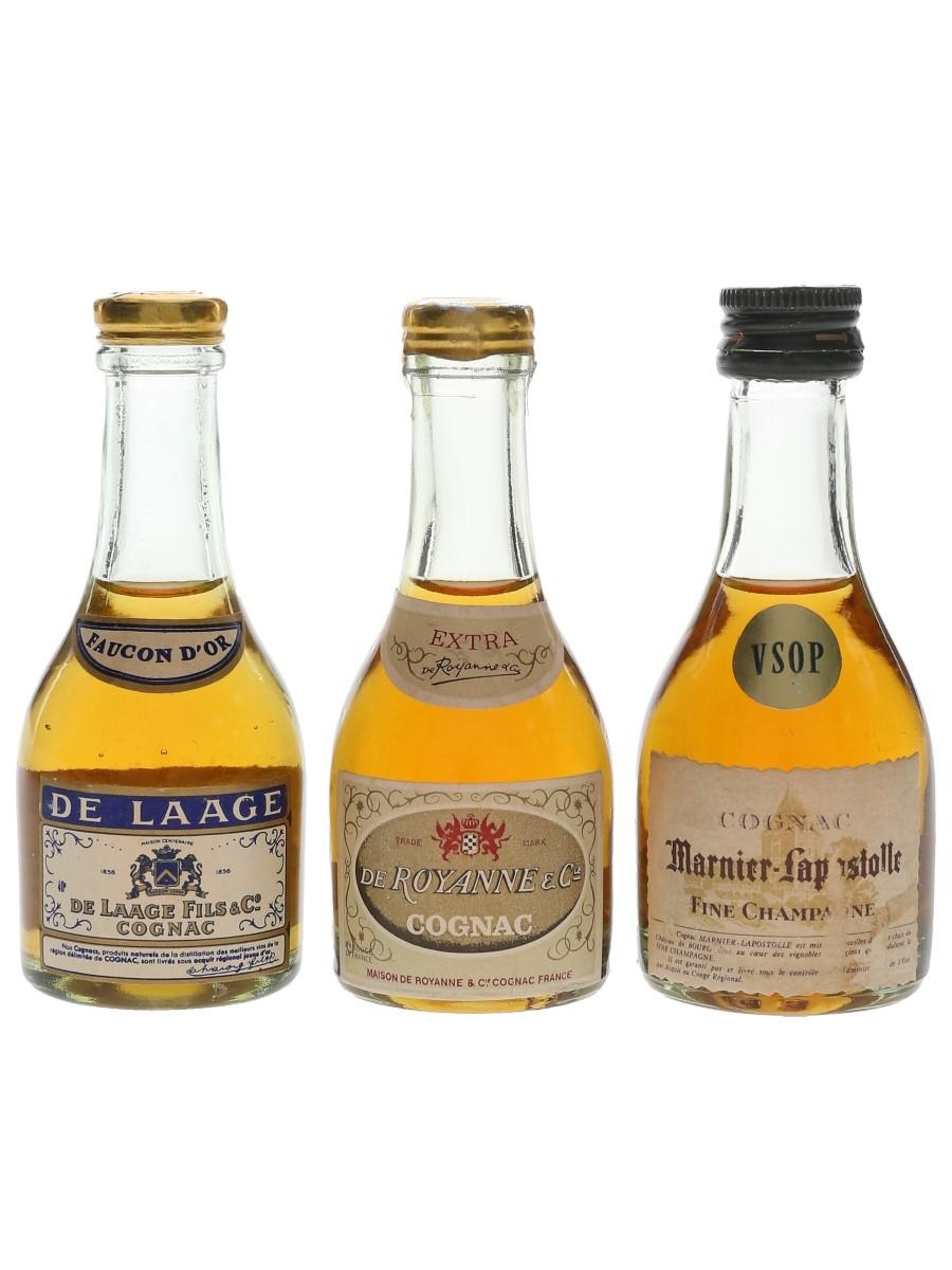 De Laage, De Royanne & Marnier Lapostolle Cognac Bottled 1970s 3 x 3cl-3.5cl / 40%