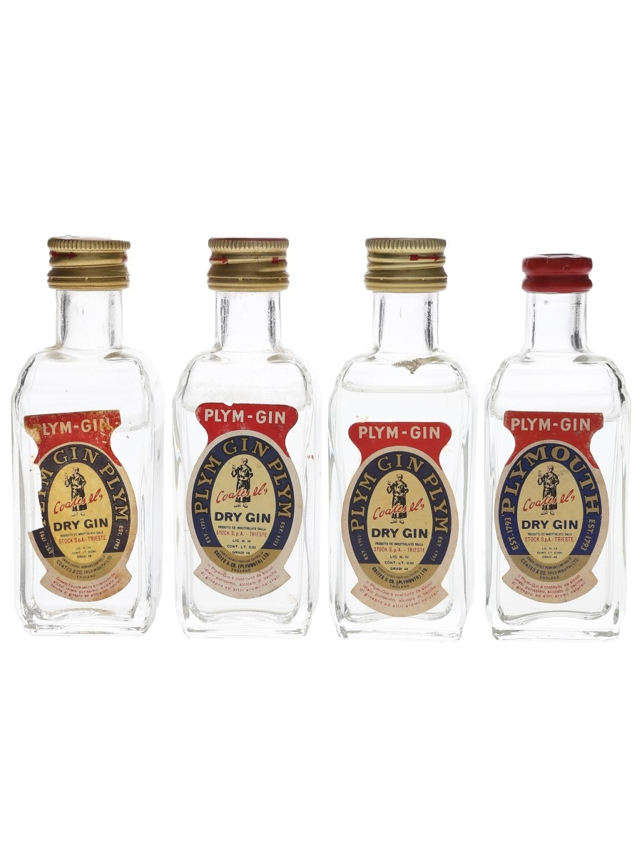 Coates & Co. Plym Gin Bottled 1960s-1970s - Stock 4 x 3cl / 46%