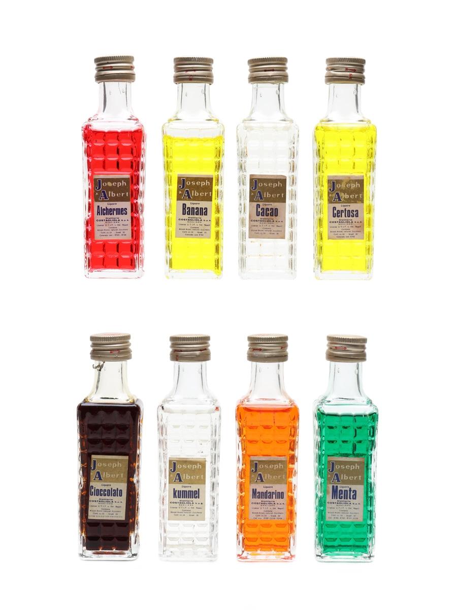 Costagliola Joseph Albert Flavoured Liqueurs Alchermes, Banana, Cacao, Certosa, Cioccolato, Kummel, Mandarino, Menta 8 x 3cl / 29%
