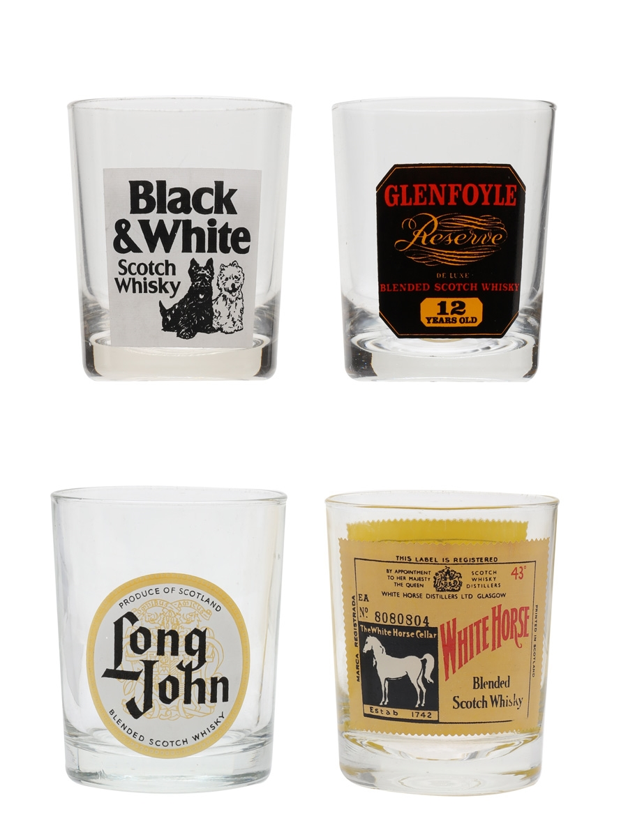 Assorted Whisky Tumblers Black & White, Glenfoyle, Long John, White Horse