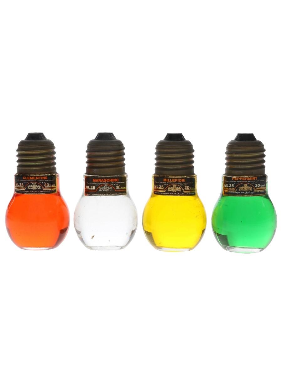 Evelt Light Bulb Liqueurs Clementine, Maraschino, Millefiori, Peppermint 4 x 3.5cl / 30%