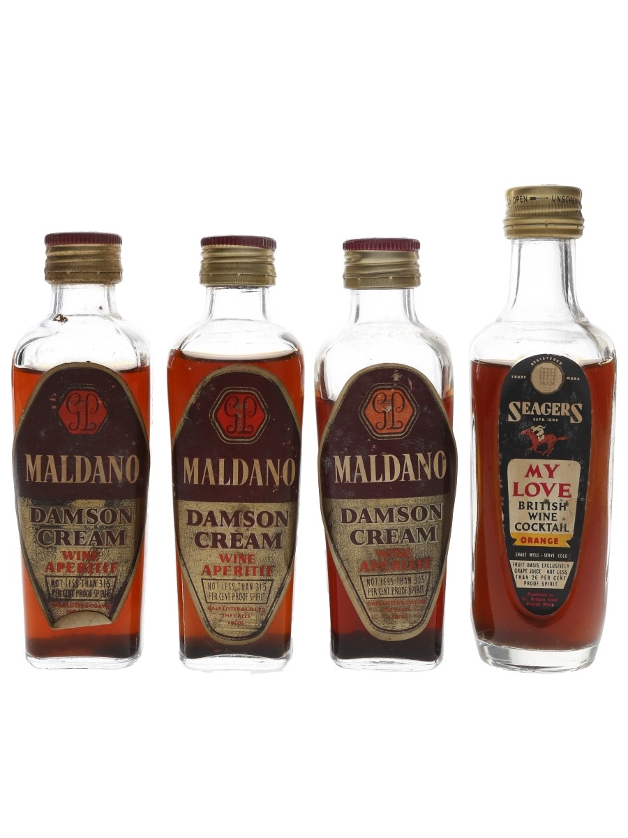 Maldano & Seagers Wine Cocktail Bottled 1960s 4 x 10cl