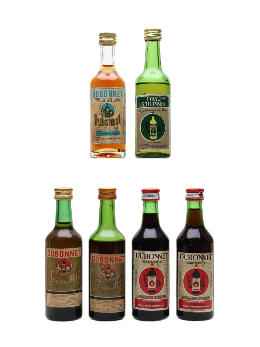 Dubonnet Blonde, Dry & Wine Aperitif Bottled 1950s-1970s 6 x 7cl / 17%