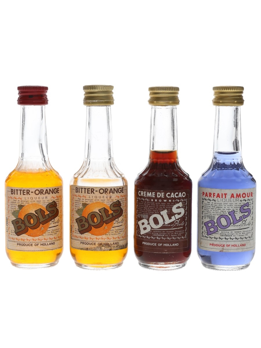 Bols Bitter Orange, Crema De Cacao & Parfait Amour Bottled 1970s 4 x 5cl