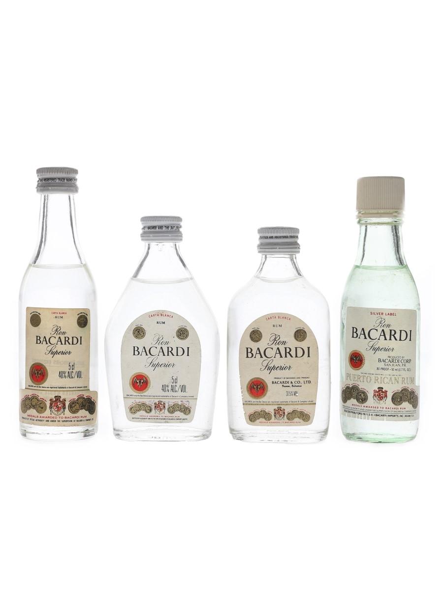 Bacardi Carta Blanca & Silver Label Bottled 1970s & 1980s 4 x 5cl