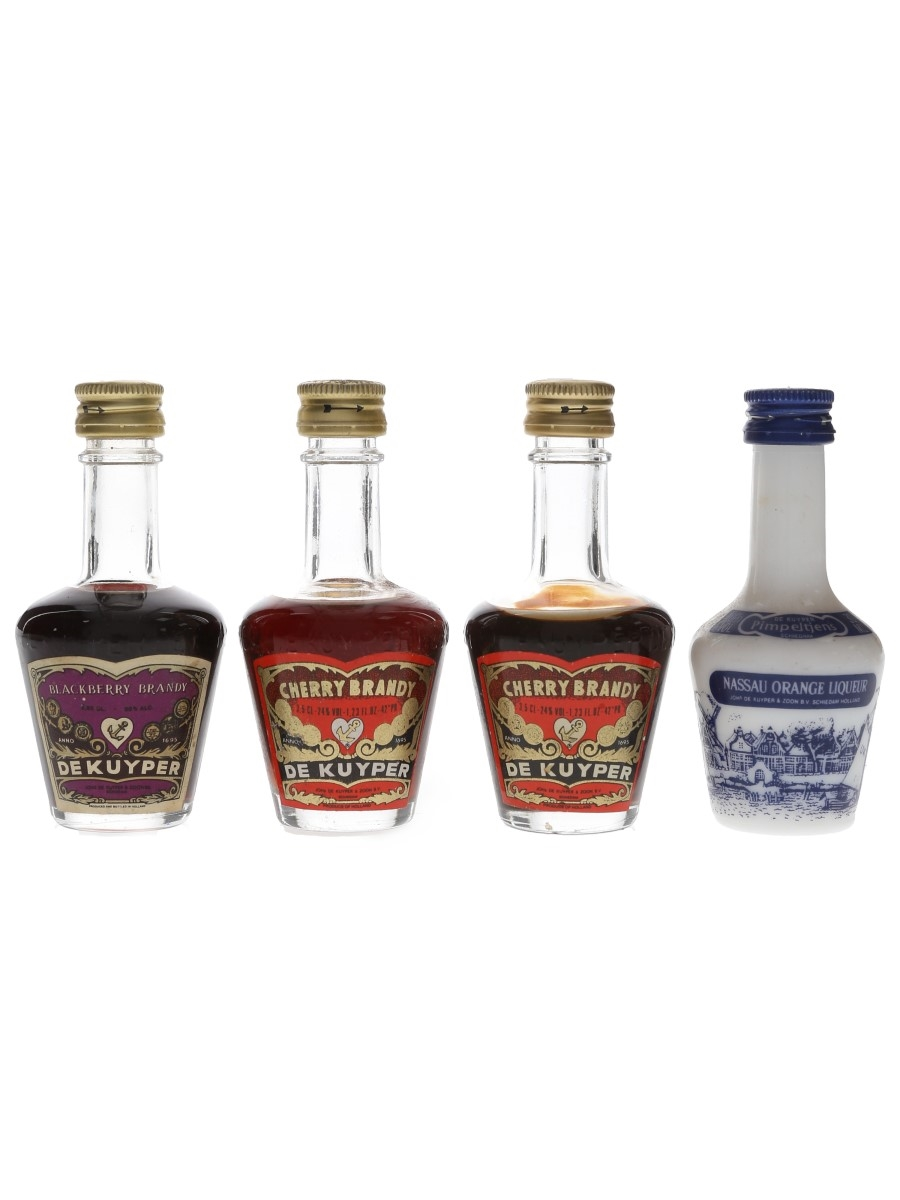 De Kuyper Liqueurs Blackberry Brandy, Cherry Brandy & Pimeltjens 4 x 3cl-3.5cl