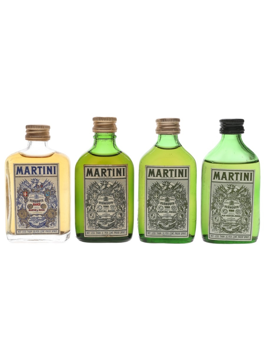 Martini Bianco & Vino Vermouth Bottled 1970s 4 x 5cl