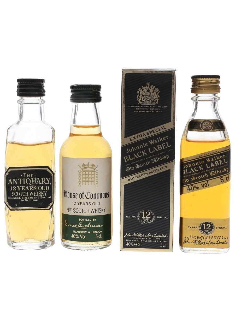 Antiquary, House Of Commons & Johnnie Walker 12 Year Old Bottled 1980s 3 x 5cl / 40%