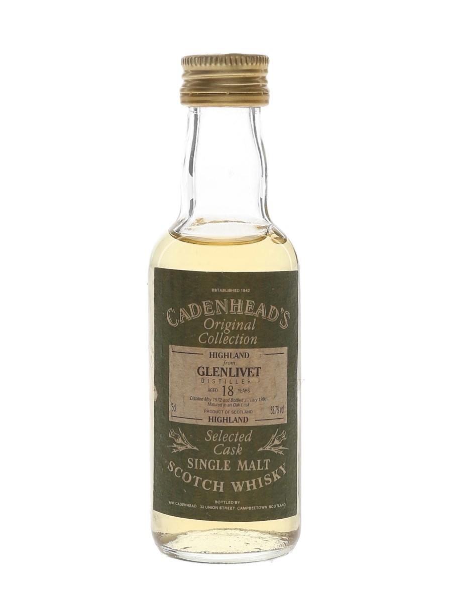 Glenlivet 1972 18 Year Old Bottled 1991 - Cadenhead's 5cl / 53.7%