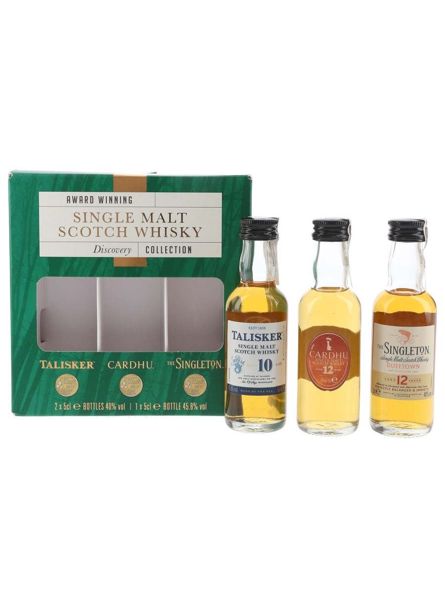 Award Winning Single Malt Scotch Whisky Discovery Collection Talisker, Cardhu, Singleton Of Dufftown 3 x 5cl