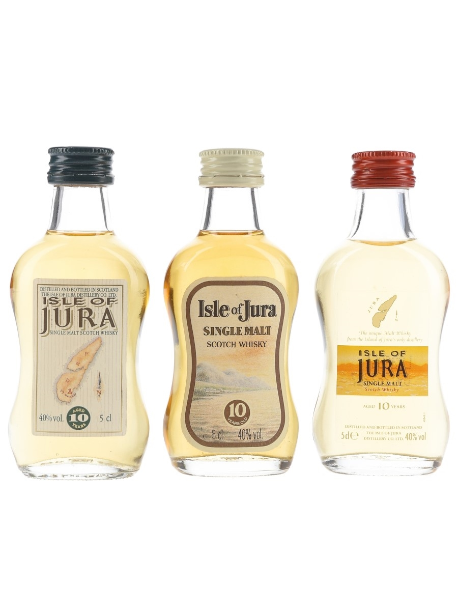 Isle Of Jura 10 Year Old Bottled 1980s-2000s 3 x 5cl / 40%