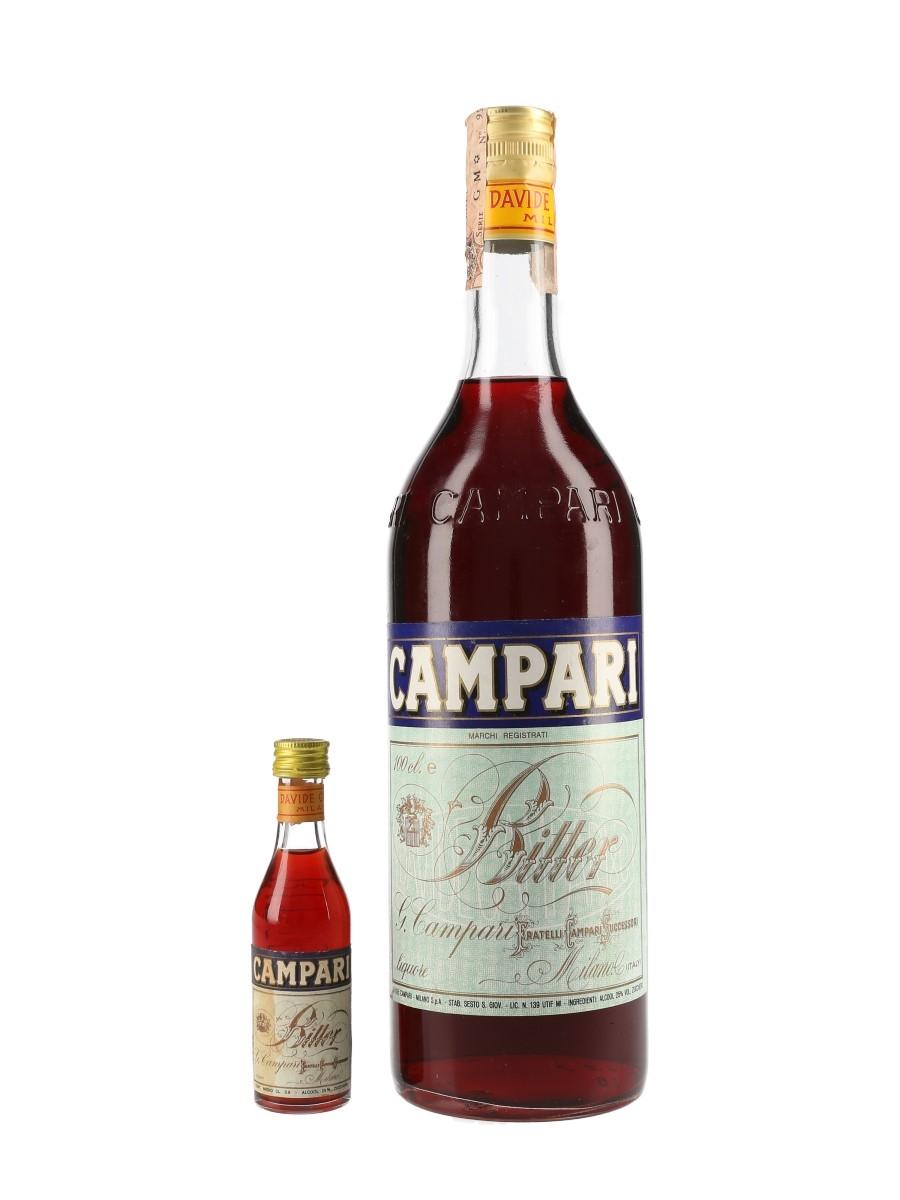 Campari Bitter Bottled 1970s-1980s 3.9cl & 100cl / 25%