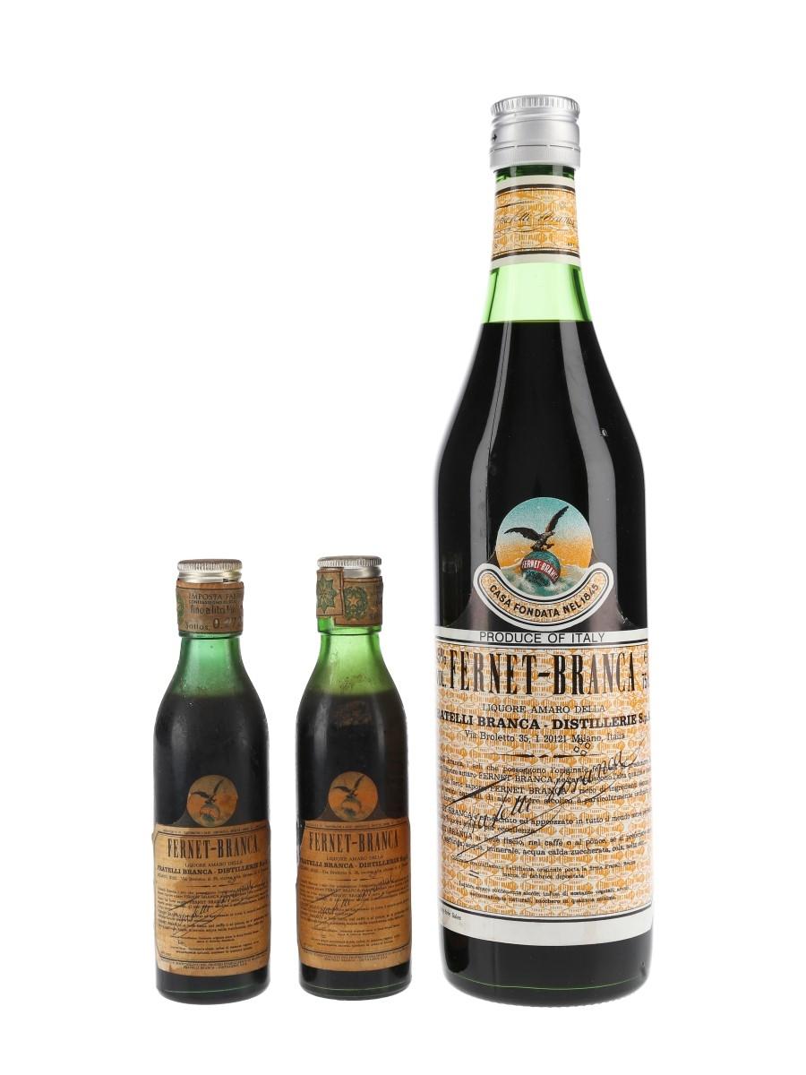 Fernet Branca Bottled 1970s & 1980s 2 x 10cl & 75cl / 45%