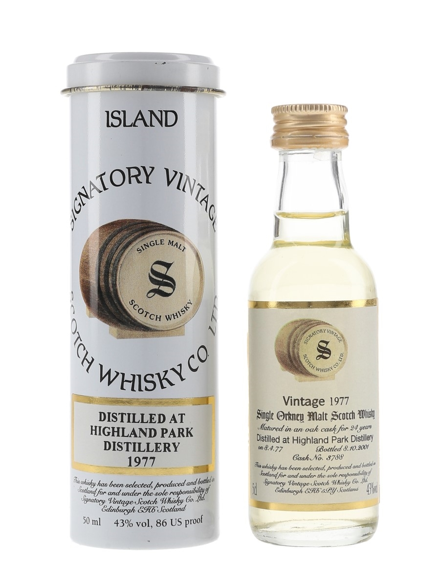 Highland Park 1977 24 Year Old Bottled 2001 - Signatory Vintage 5cl / 43%