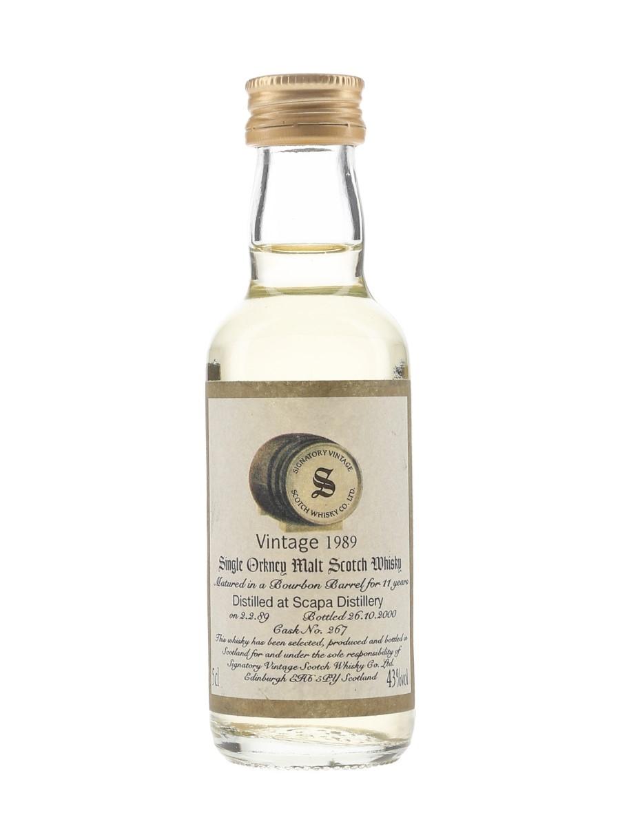 Scapa 1989 11 Year Old Bottled 2000 - Signatory Vintage 5cl / 43%