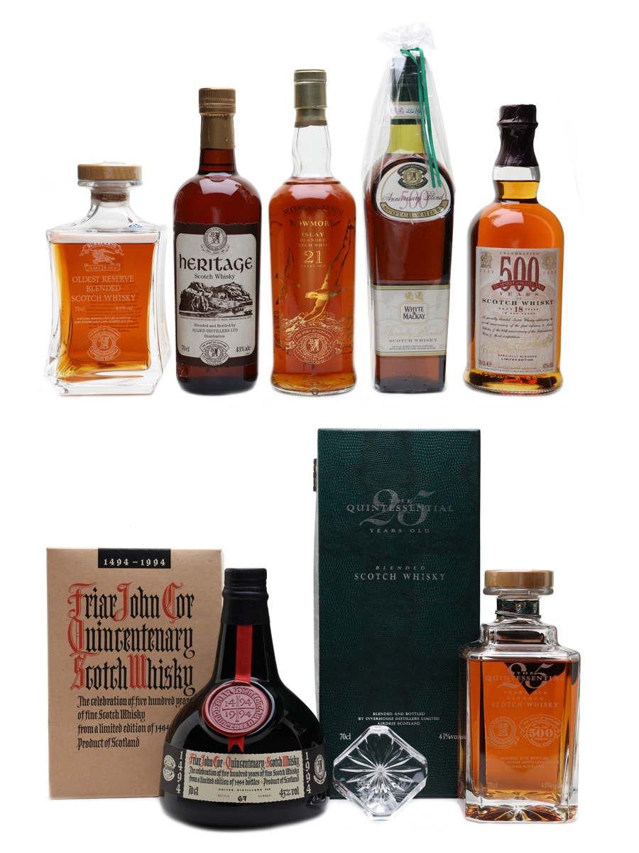 Spirit Of Scotland Trophy 500th Anniversary Blends Burberry's, Friar John Cor, Grant's, Heritage, Morrison's Bowmore, Quintessential & Whyte & Mackay 7 x 70cl & 75cl / 43%