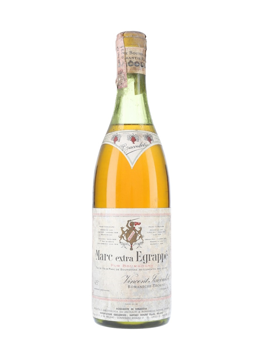 Jacoulot Marc De Bourgogne Extra Egrappe Bottled 1970s - Import House 75cl / 45%