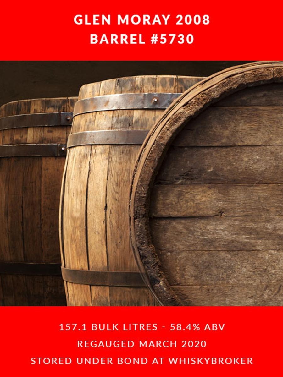 Glen Moray 2008 Cask 5730 Barrel - 157.1 litres 58.4%