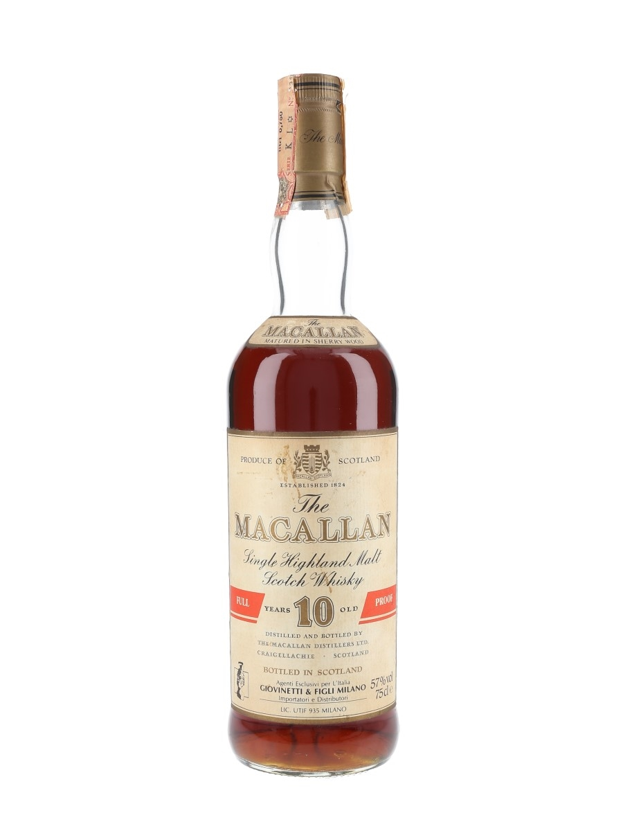 Macallan 10 Year Old 100 Proof Bottled 1980s - Giovinetti 75cl / 57%