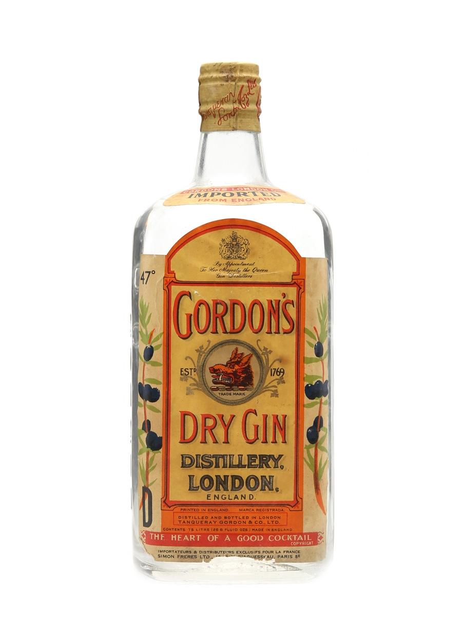 Gordon's Dry Gin Spring Cap Bottled 1950-60s 75cl