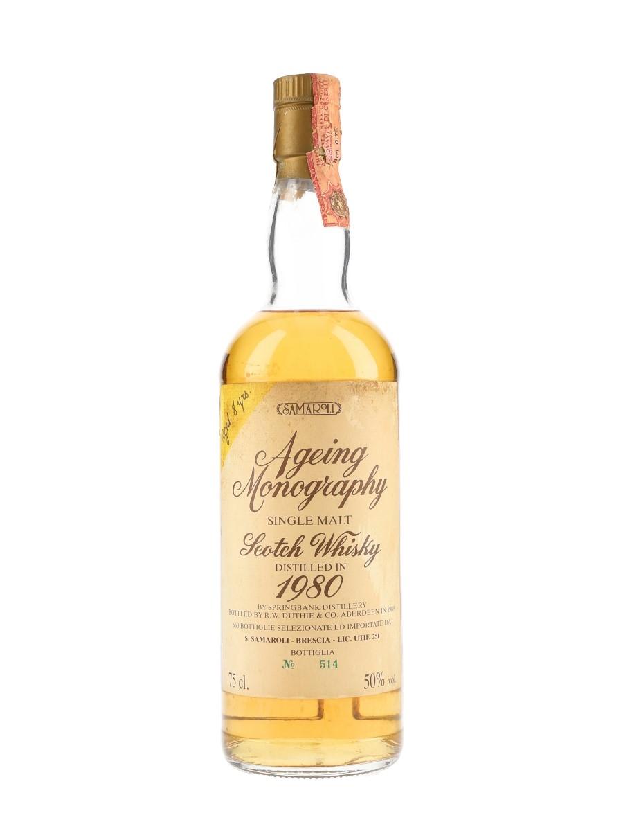 Springbank 1980 8 Year Old Ageing Monography Bottled 1989 - Samaroli 75cl / 50%