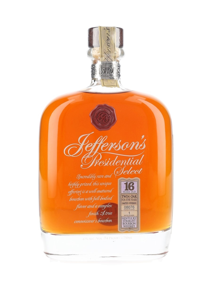 Jefferson's Presidential Select 16 Year Old Batch Number 1 75cl / 47%
