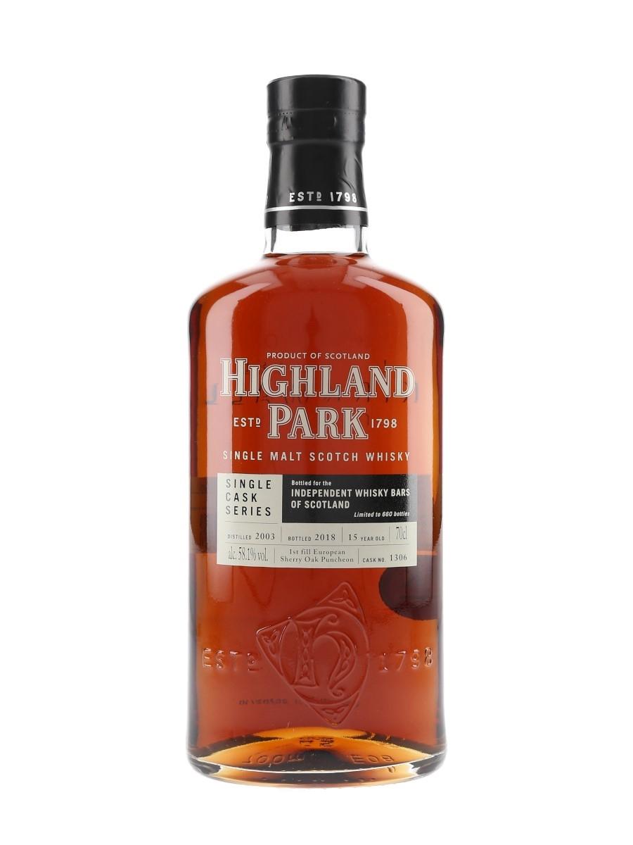 Highland Park 2003 15 Year Old Single Cask Bottled 2018 Independent Whisky Bars Of Scotland 70cl / 58.1%