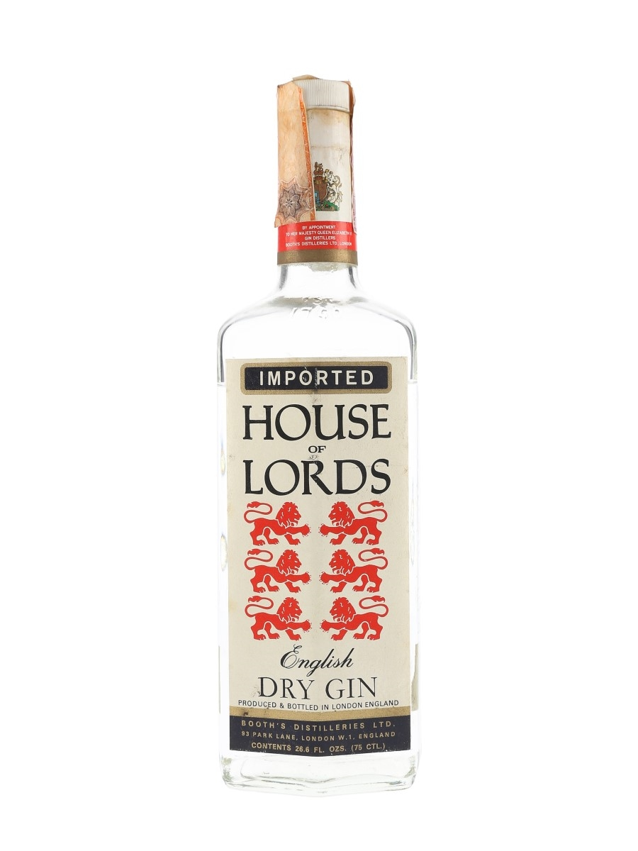 Booth's House Of Lords Dry Gin Bottled 1970s - Silver 75cl / 40%