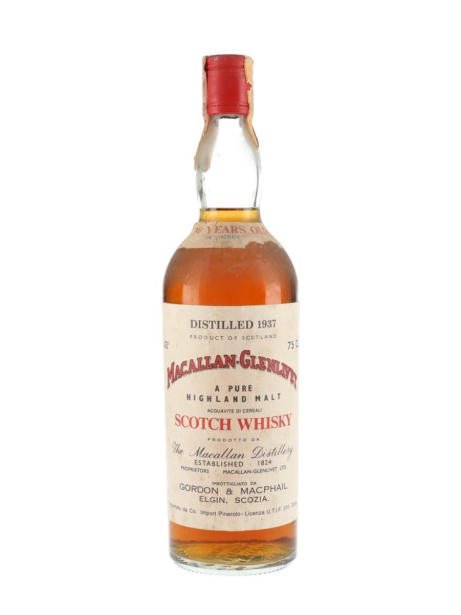 Macallan Glenlivet 1937 36 Year Old Bottled 1970s - Pinerolo 75cl / 43%