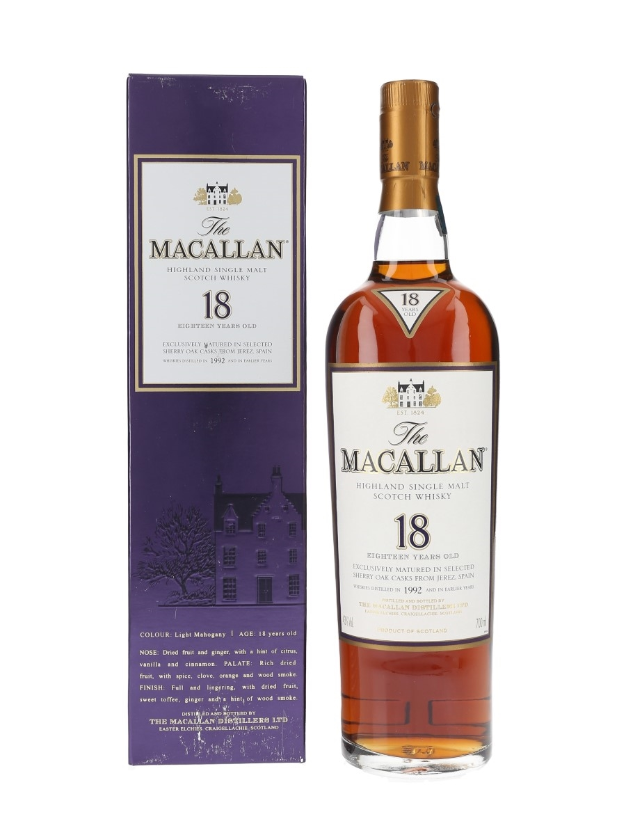 Macallan 18 Year Old Distilled 1992 and Earlier 70cl / 43%