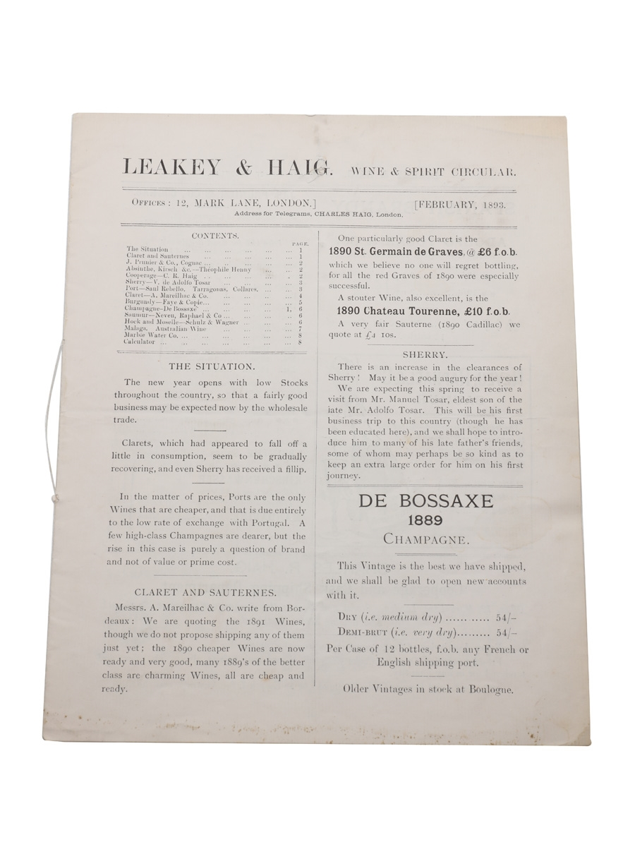 Leaky & Haig Wine & Spirit Circular, February 1893