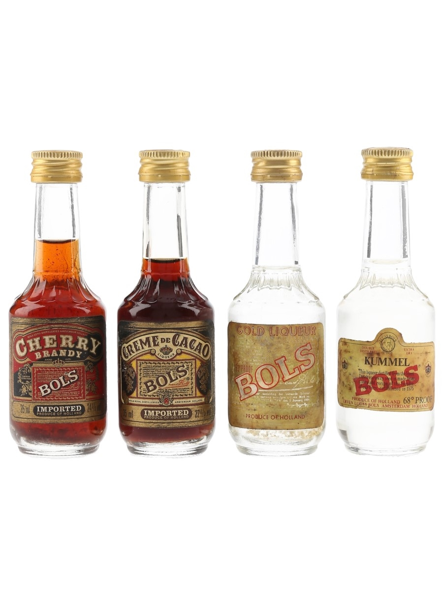 Bols Cherry, Creme De Cacao, Gold Liqueur & Kummel Bottled 1970s & 1980s 4 x 3.5cl
