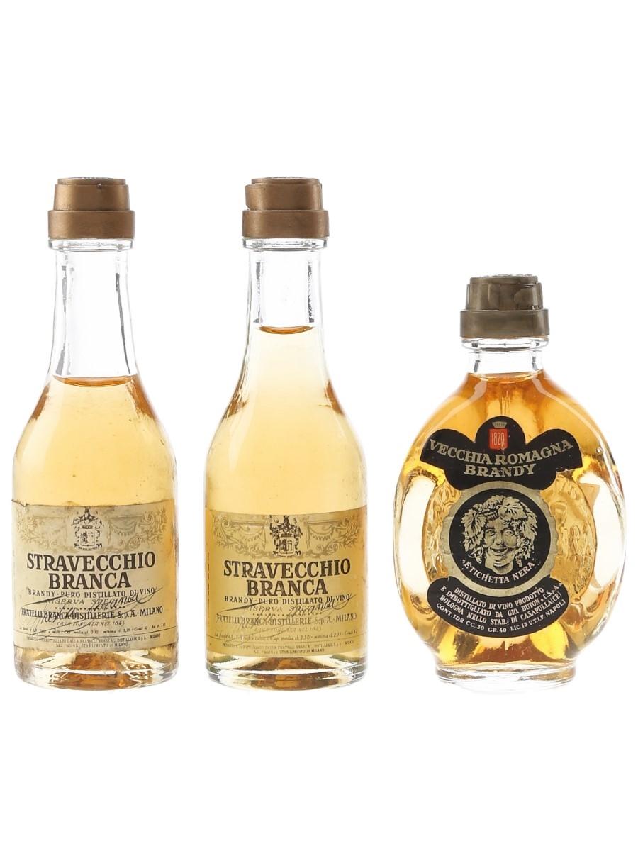 Stravecchio Branca & Vecchia Romagna Brandy  3 x 2.5cl-3cl