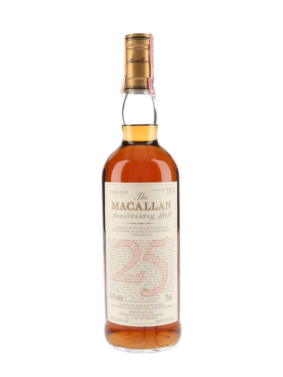 Macallan 1962 25 Year Old Anniversary Malt Bottled 1988 - Giovinetti 75cl / 43%