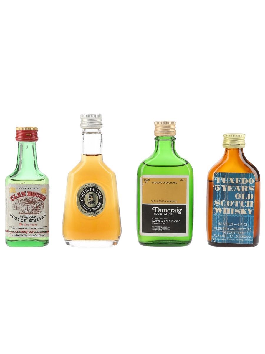 Clan House, Curtis, Duncraig & Tuxedo Bottled 1980s 4 x 2.8cl-5cl