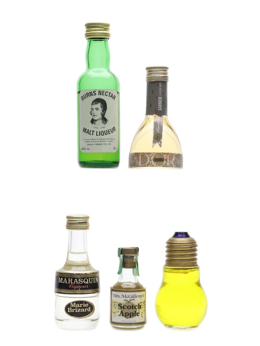 Assorted Liqueur Burns Nectar, Garnier, Marie Brizard, Montserrat & Mrs McGillvray's Scotch apple 5 x 1cl-5cl