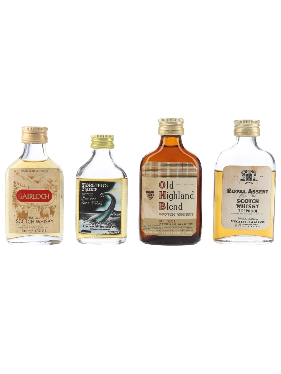 Gairloch, Monster's Choice, Old Highland Blend & Royal Assent Bottled 1970s & 1980s 4 x 4cl-5cl / 40%